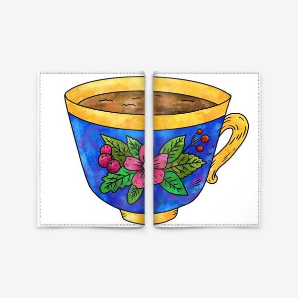 Обложка для паспорта «Синяя чашка с цветами»