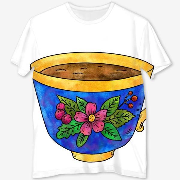 Футболка с полной запечаткой «Синяя чашка с цветами»