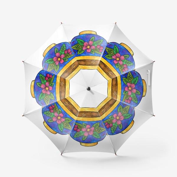 Зонт «Синяя чашка с цветами»