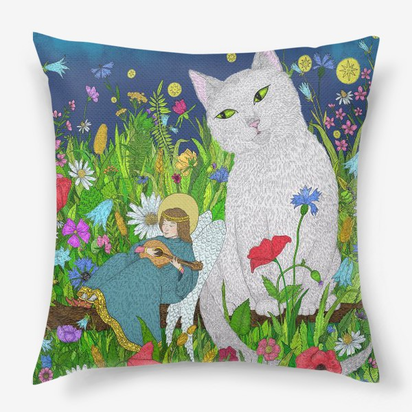 Подушка «Тихая ночь. Белый кот и анге»