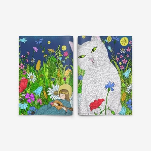 Обложка для паспорта «Тихая ночь. Белый кот и анге»
