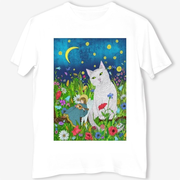 Футболка «Тихая ночь. Белый кот и анге»