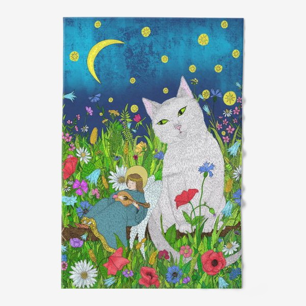 Полотенце «Тихая ночь. Белый кот и анге»