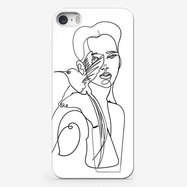 Чехол iPhone «девушка с райской птицей одной линией»