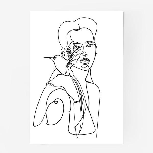 Постер «девушка с райской птицей одной линией»