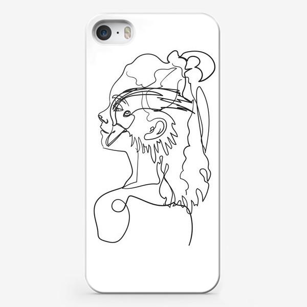 Чехол iPhone «профиль девушки и птицы одной линией»