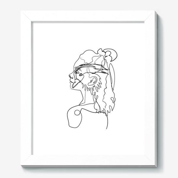 Картина «профиль девушки и птицы одной линией»