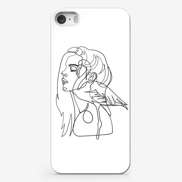 Чехол iPhone «девушка и фламинго»