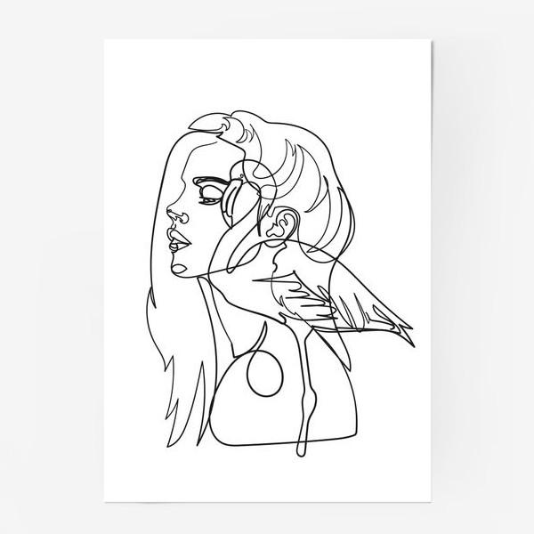 Постер «девушка и фламинго»