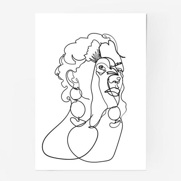 Постер «девушка и павлин одной линией»