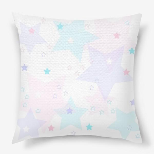 Подушка «Нежные прозрачные звезды. Паттерн.»