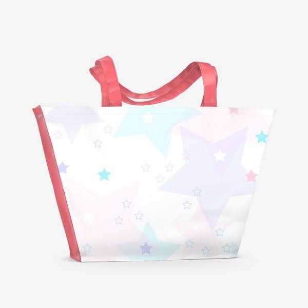Пляжная сумка «Нежные прозрачные звезды. Паттерн.»