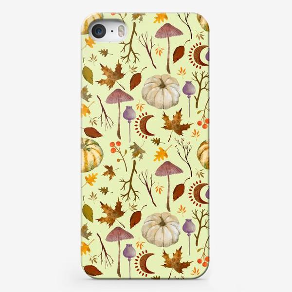 Чехол iPhone «Осенний паттерн с тыквами, грибами, листьями, ветками, символами луны.»