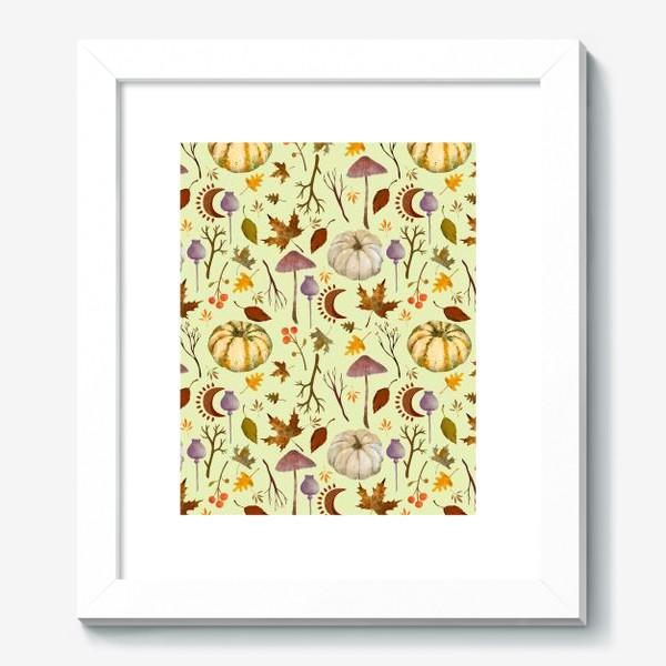 Картина «Осенний паттерн с тыквами, грибами, листьями, ветками, символами луны.»