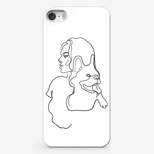Чехол iPhone «девушка с собакой одной линией»