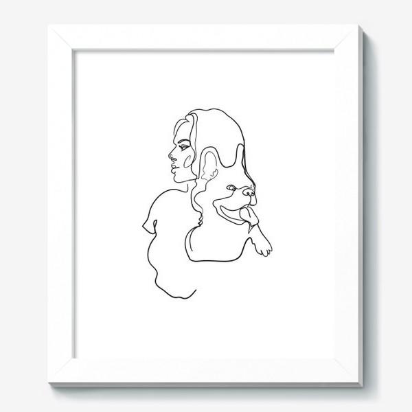 Картина «девушка с собакой одной линией»