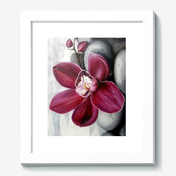 Картина «Цветок красной орхидеи. Живопись. Цветок с капельками росы»