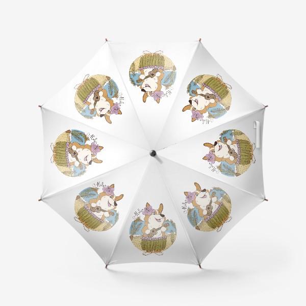 Зонт «Корги. Море. Укулеле»