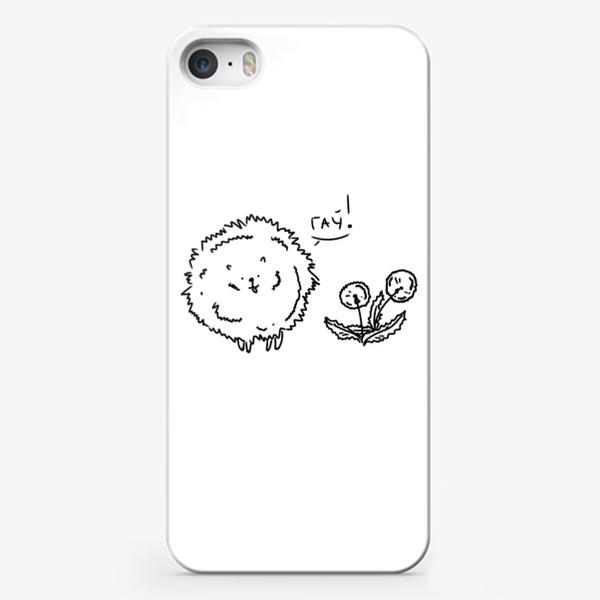 Чехол iPhone «Одуванчики и собачка шпиц»