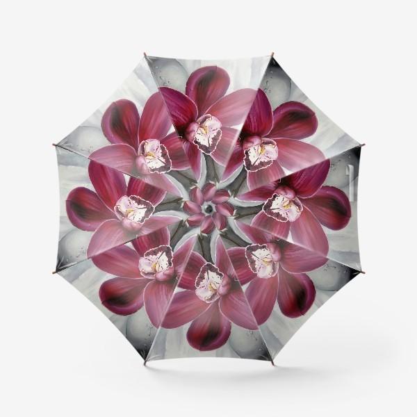 Зонт «Цветок красной орхидеи. Живопись. Цветок с капельками росы»