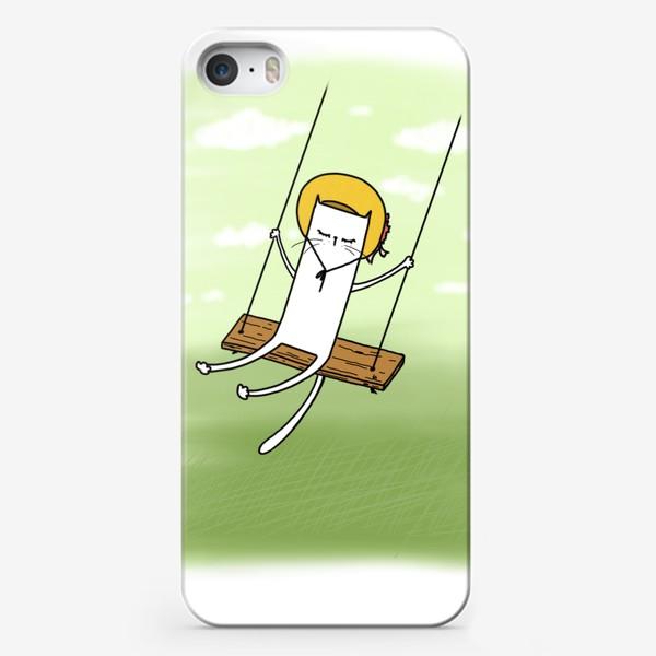 Чехол iPhone «Летняя котенька на качелях »