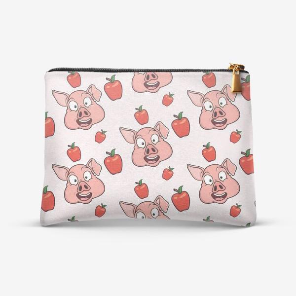 Косметичка «узор со свиньями и яблаками»
