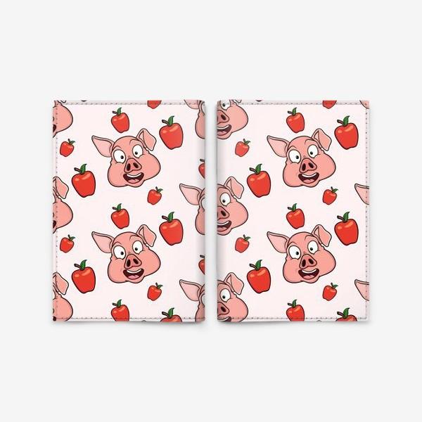 Обложка для паспорта «узор со свиньями и яблаками»
