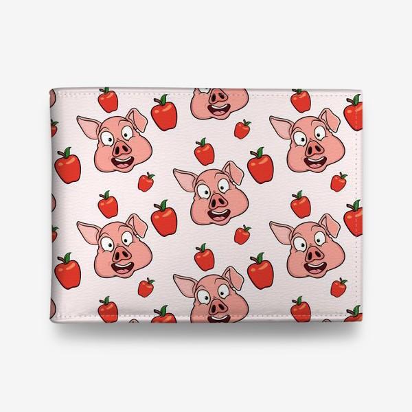 Кошелек «узор со свиньями и яблаками»