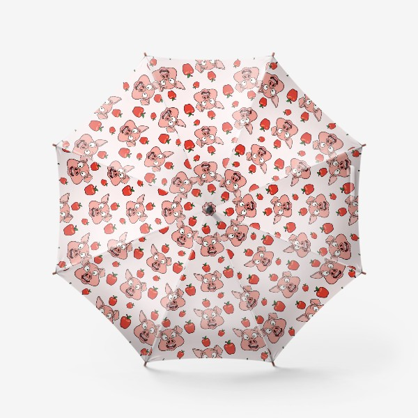Зонт «узор со свиньями и яблаками»