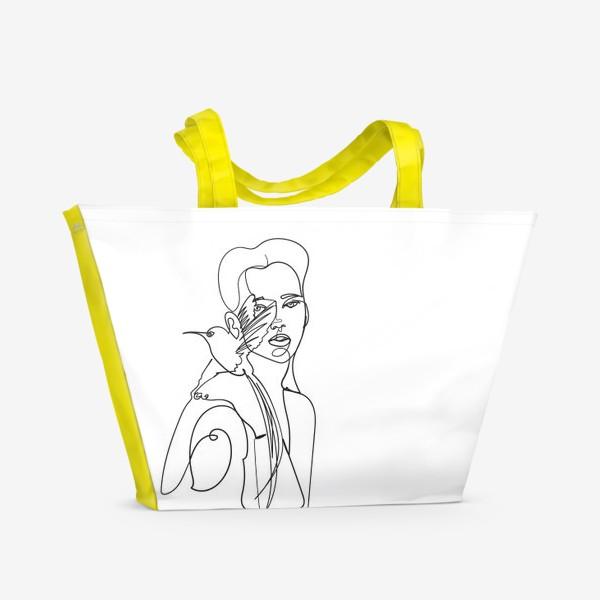 Пляжная сумка «девушка с райской птицей одной линией»
