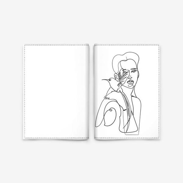 Обложка для паспорта «девушка с райской птицей одной линией»