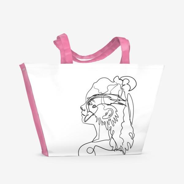 Пляжная сумка «профиль девушки и птицы одной линией»