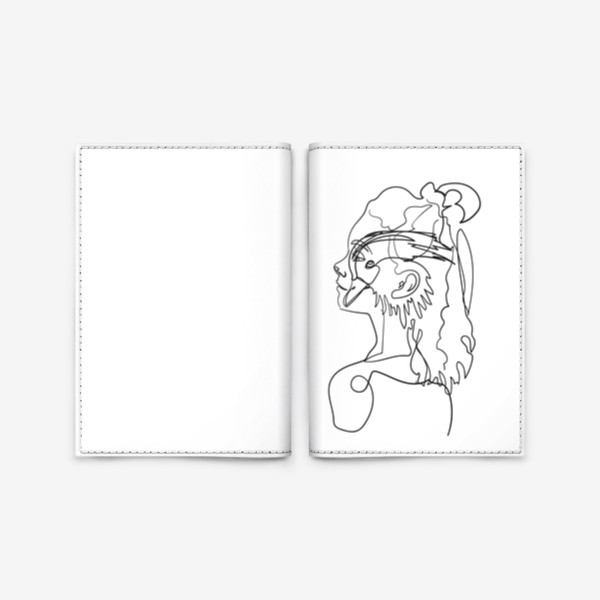 Обложка для паспорта «профиль девушки и птицы одной линией»