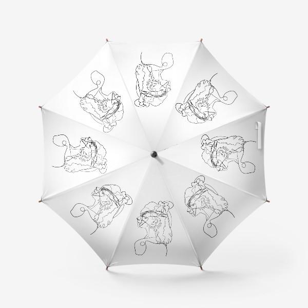 Зонт «профиль девушки и птицы одной линией»
