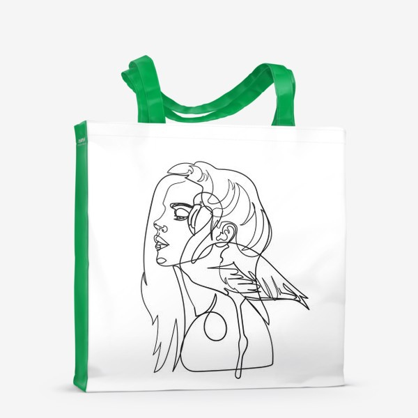 Сумка-шоппер «девушка и фламинго»