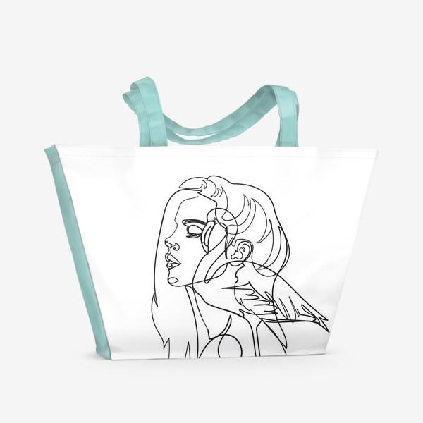 Пляжная сумка «девушка и фламинго»