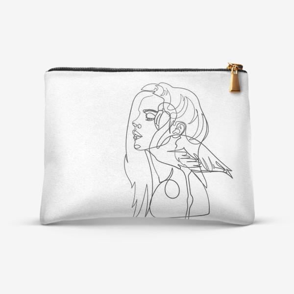 Косметичка «девушка и фламинго»