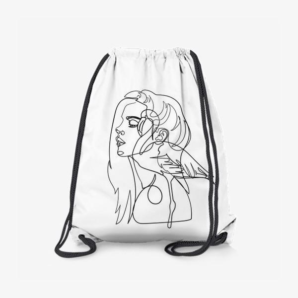 Рюкзак «девушка и фламинго»