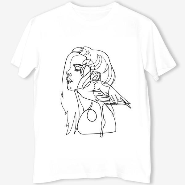 Футболка «девушка и фламинго»
