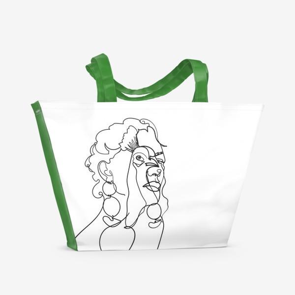 Пляжная сумка «девушка и павлин одной линией»