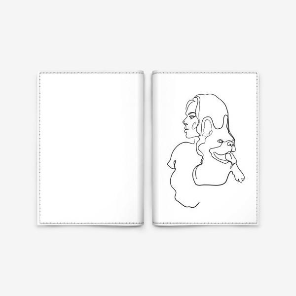 Обложка для паспорта «девушка с собакой одной линией»