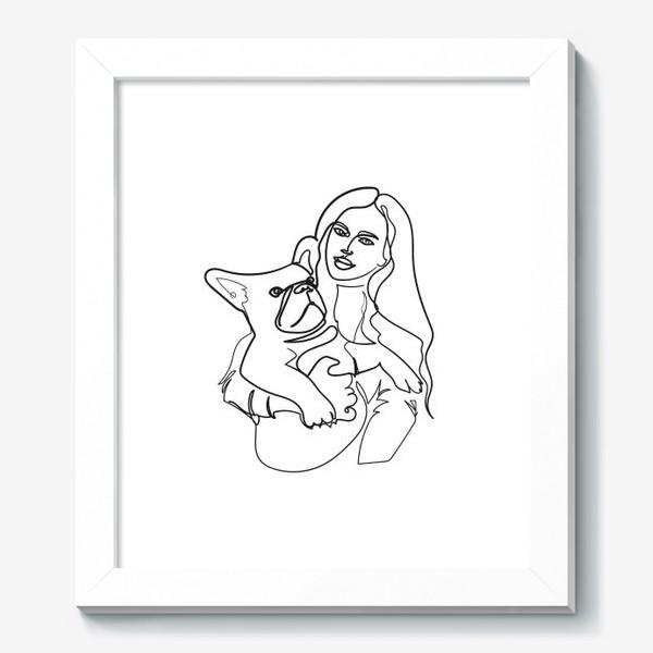 Картина «девушка и собака line»