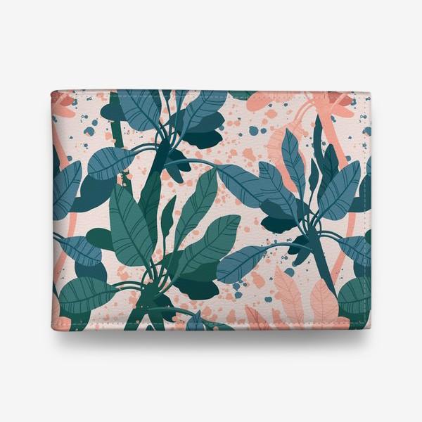 Кошелек «Тропические растения, коралловый и синий.»