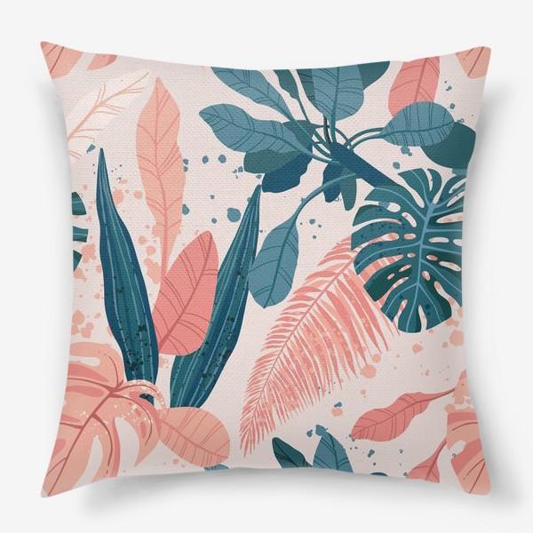 Подушка «Тропические пальмовые листья на розовом фоне»