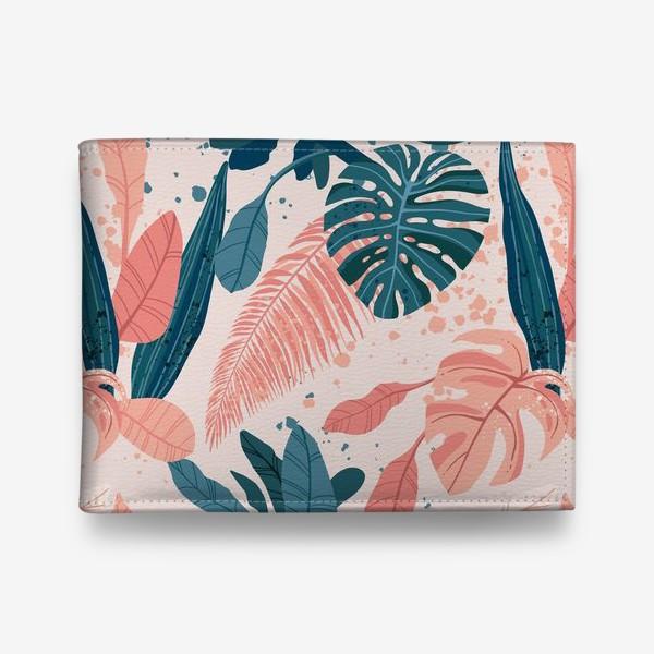 Кошелек «Тропические пальмовые листья на розовом фоне»