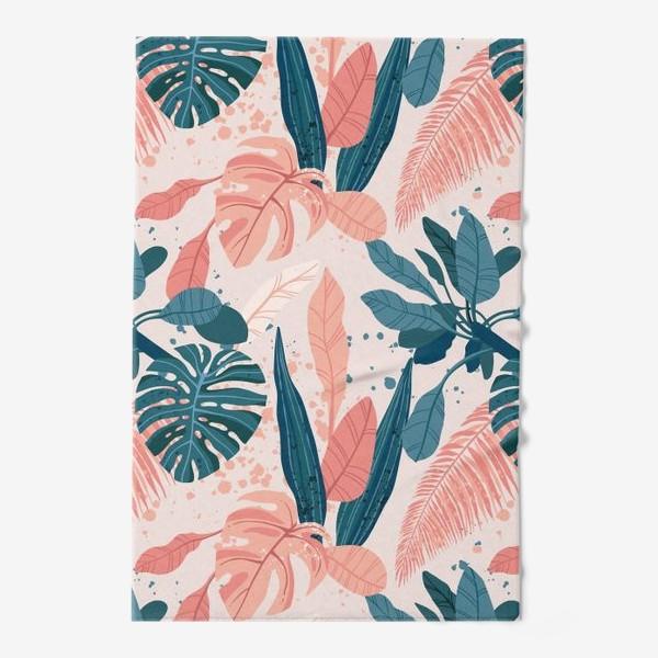 Полотенце «Тропические пальмовые листья на розовом фоне»