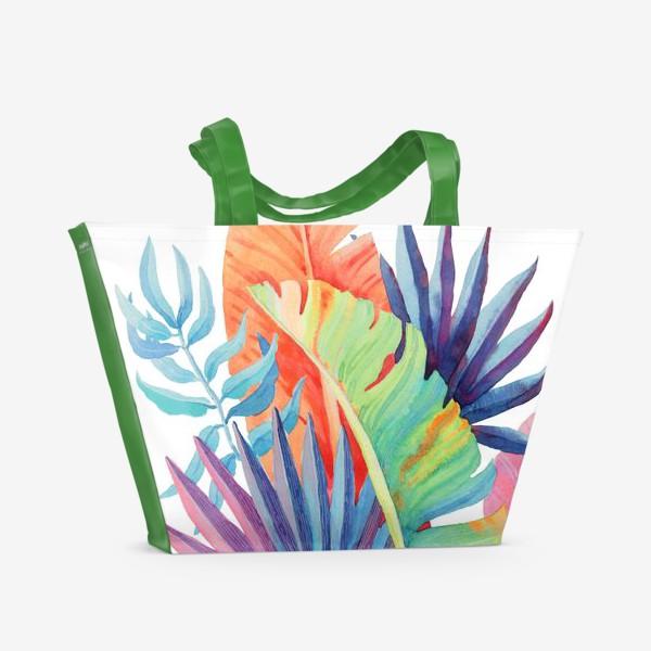 Пляжная сумка «Яркие тропические листья»
