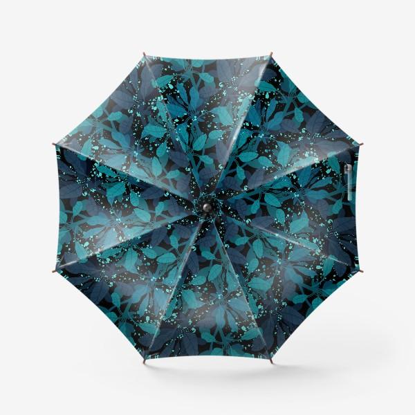 Зонт «Синие и зеленые экзотические листья на черном фоне»