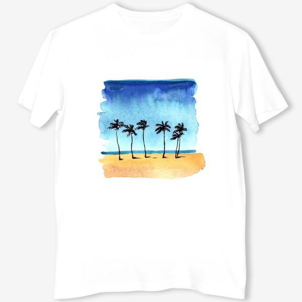 Футболка «акварель пляж с пальмами»