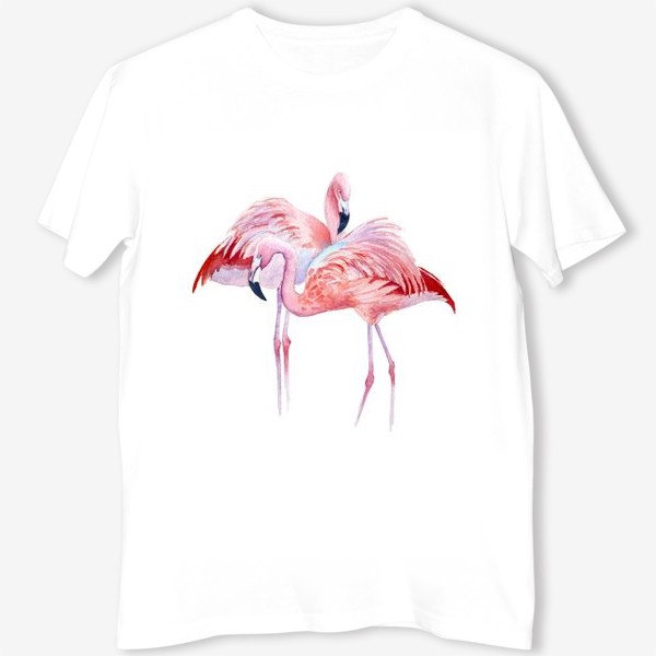 Футболка «розовый фламинго и тропики»
